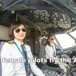 飛行機を操縦する女性パイロット