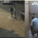 郵便受けからドアに手を入れる泥棒
